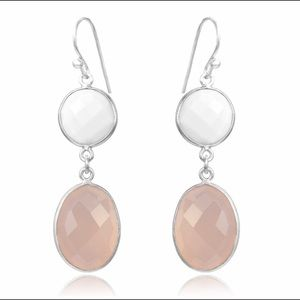White Agate & Pink Chalcedony Double Drop Earrings